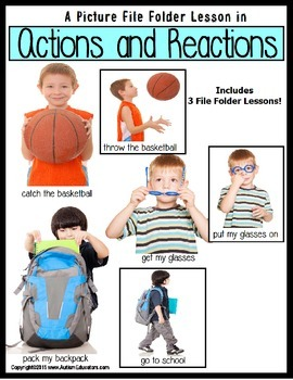 Autism: File Folder (SET OF 3): ACTIONS and REACTIONS with Pictures AUTISM