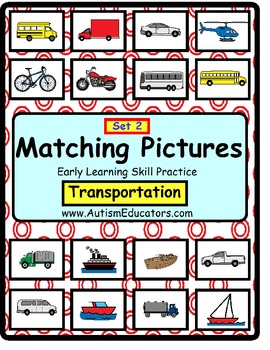 Autism File Folder Matching Skills TRANSPORTATION Set of 2