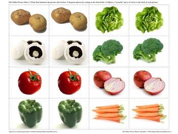 Autism File Folder Picture Match - Vegetables