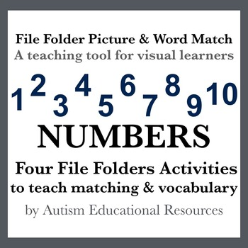 Four Autism File Folder Activities - Picture & Word Match, Numbers