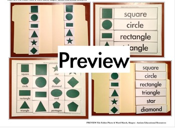 Four Autism File Folder Activities - Picture & Word Match, Shapes