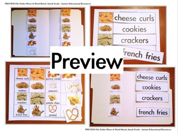 Four Autism File Folder Activities - Picture & Word Match, Snack Foods