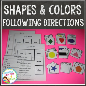 Shapes & Colors Following Directions & Sorting Set