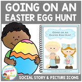 Social Story Going on an Easter Egg Hunt + 18 cards Visuals Autism