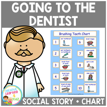 Social Story Going to the Dentist Book & Brushing Teeth Chart PECS Autism