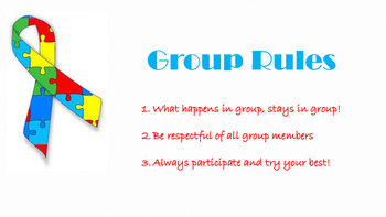 Autism Group Counseling Rules Sign