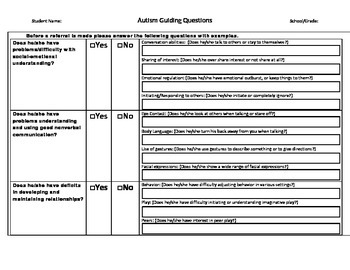 Autism Guiding Questions Form