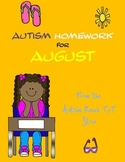 Autism Homework for August from Autism Reach TpT Store (FREEBIE)