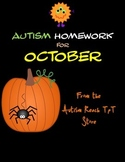 Autism Homework for October (From Autism Reach TpT Store)