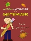 Autism Homework for September (From Autism Reach TpT Store)