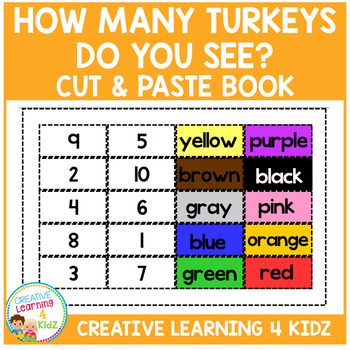 Thanksgiving How Many Turkeys Do You See? Cut & Paste Book