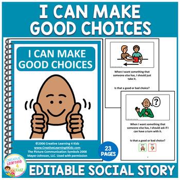 Social Story I Can Make Good Choices Book Behavior Autism