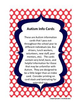 Autism Info Cards