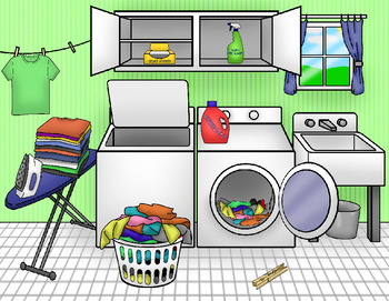 Autism:  Laundry Room Scene Cue File Folder