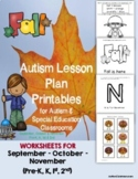 Autism Lesson Plan Printables for Autism Support Classrooms (FALL)