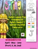 Autism Lesson Plan Printables Autism Support & Special Ed. Classrooms (Spring)
