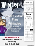 Autism Language Lesson Plan Printables for Autism Support Classes (Winter Theme)