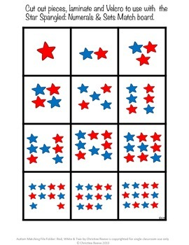 Autism Matching File Folders: Red, White, & Two {Special Education, EC}
