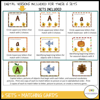 Autism Matching Task Cards: Fall Letters {Special Education, Early Childhood}