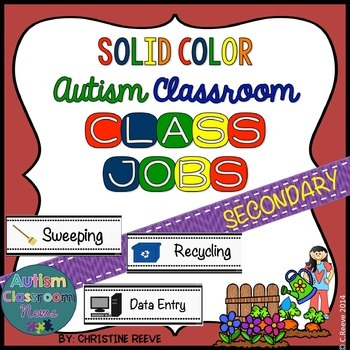 Autism Middle & High School Classroom Jobs*Solid Colors (Special Education)