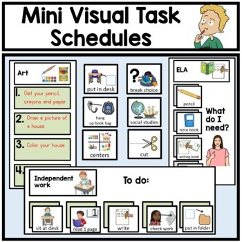 Autism. Mini visual task schedules.Classroom. Organization