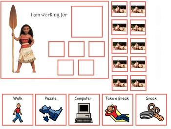 Autism:  Moana Token Boards