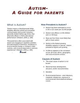 Autism - Parent Handout - Informational Brochure