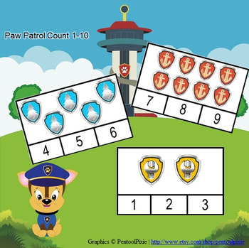 Autism:  Paw Patrol 1-10 Clothespin Count
