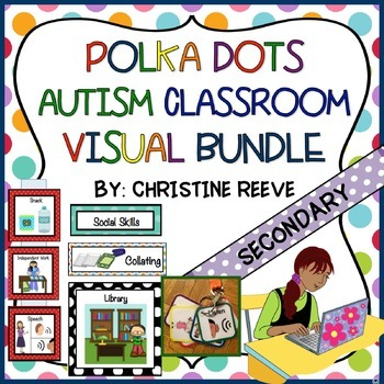 Autism Polka Dot Middle & High School Classroom Visual Bundle