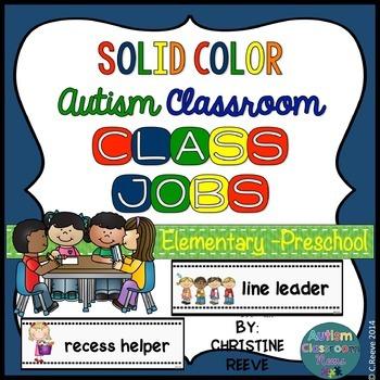 Autism PreK-Elementary Classroom Jobs*Solid Colors* (speci