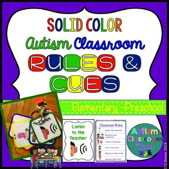 Autism PreK-Elementary Classroom Visual Rules & Cueing Lanyard*Solid Colors*