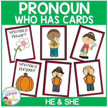 Pronoun Who Has Cards Set 1 He & She