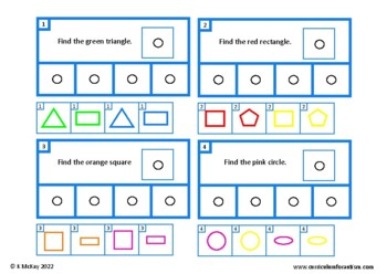Shapes, Read & Find task cards, Autism, Special Education, Math Centers