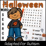 Autism Reading Games: Adapted Halloween Word Search Puzzles