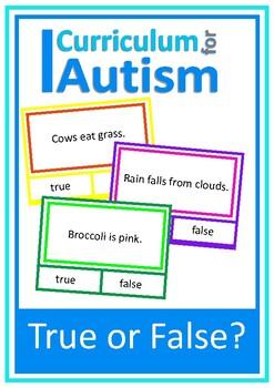 True or False Reading Comprehension Cards, Autism Special Education