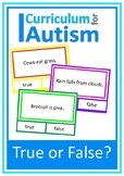True or False Reading Comprehension Autism Special Edication