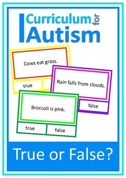 Autism Reading Skills True or False, 80 Clip Cards, Specia