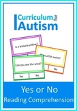 Yes or No Reading Comprehension Autism Special Education