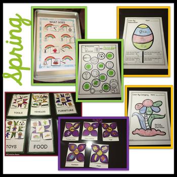 Autism Receptive Vocabulary Activities 4 Season BUNDLE: Feature Function Class
