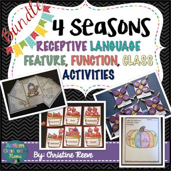 Autism Receptive Vocabulary Activities 4 Season BUNDLE: Fe