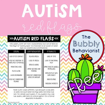 Autism Red Flags Handout