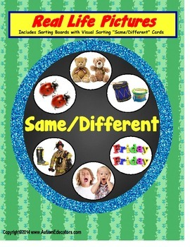 Autism SAME/DIFFERENT Sorting Board with Real-Life Pictures {Special Education}