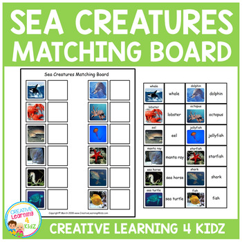 Sea Creatures Matching Board