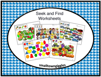 Vocabulary Activities ESL Special Education Speech  Seek and Find