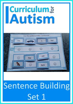 Autism Sentence Making Cards, Special Education, Speech Therapy (Set 1)