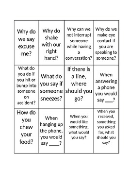 Autism- Social Norms Memory Game