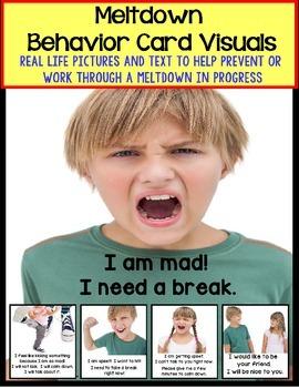 Autism Social Skills - Behavior Card Visuals Self-Talk To