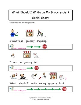 What Should I Write on My Grocery List Autism Social Story
