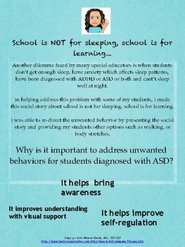 Autism Social Story: School is Not for Sleeping, School is for Learning