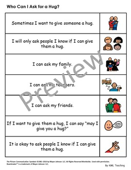 Autism Social Story - Who Can I Ask For A Hug? Special Education